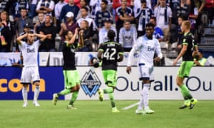 Seattle Sounders midfielder Lamar Neagle celebrates his goal against Vancouver Whitecaps in the Concacaf Champions League.