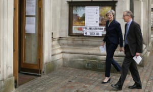 Theresa May and husband Philip vote in yesterday's local elections.