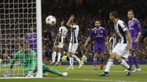 Agony for the Juventus players after a header from Alex Sandro, no 12, goes the wrong side of the post.