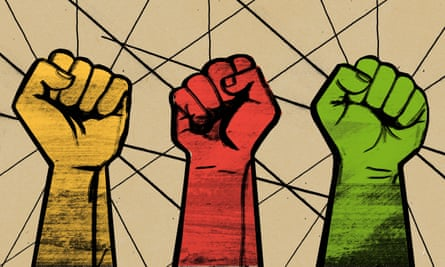 Three fists lined up in a row, one Lib Dem yellow, Labour red and Green party green