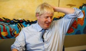 Boris Johnson at the Royal Cornwall Hospital this morning.