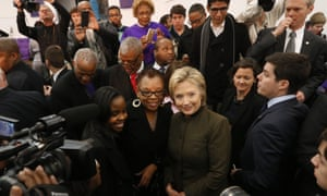 Hillary Clinton poses for a photograph at the House of Prayer Missionary Baptist Church.