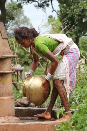 Ujiyaro empties a water pot