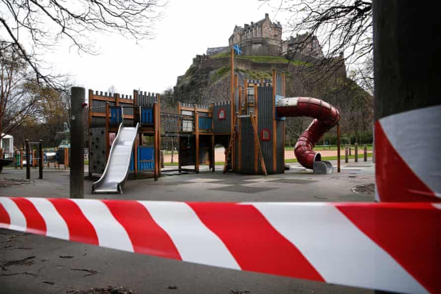 No play zone ... a closed-off children's park in Edinburgh last April.