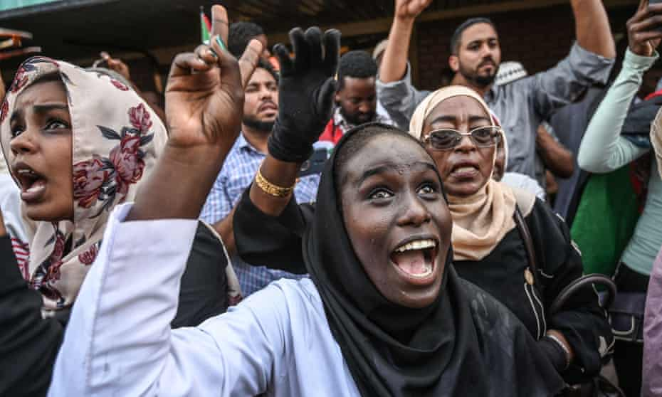 Demonstrators in Khartoum cheer fellow protesters from Atbara – where resistance to ousted Sudanese president Omar al-Bashir erupted in 2018.