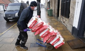 A potato delivery to Mr Crolla's fish and chip shop in Tranent, Scotland