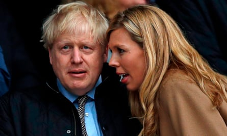 Boris Johnson and Symonds at a Six Nations match between England and Wales at Twickenham.