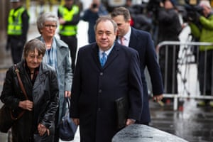 Edinburgh, Scotland. The former SNP first minister Alex Salmond appears at the high court to face charges over a series of alleged sexual assaults, including an attempted rape. He denies all the charges