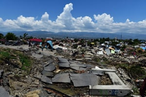 An overview of an earthquake devastated residential area in Palu.