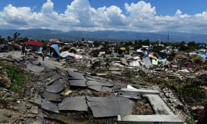 An overview of an earthquake devastated residential area in Palu