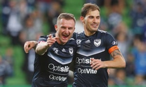 Besart Berisha celebrates his goal during Melbourne Victory's 3-0 win over Adelaide United at AAMI Park.