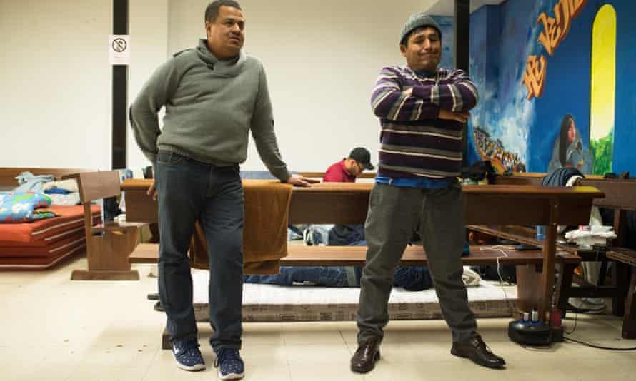Immigrants from Latin America at a temporary shelter at San Carlos Borromeo church in Madrid
