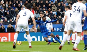 Leicester City's Wilfred Ndidi takes a dive leading to a second yellow card and a red card. Not the sort of birthday gift that the 21 year old would have wanted.