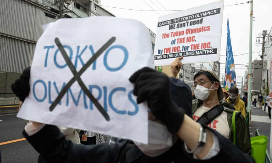 A demonstration against the Olympic Games in Tokyo.
