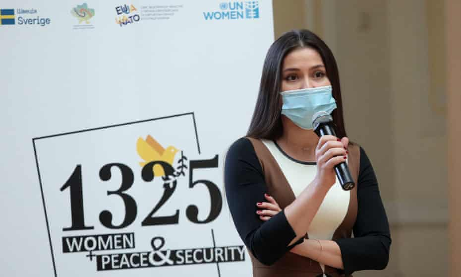 Ukrainian social policy minister Olha Revuk at the opening of the Women, Peace and Security in Ukraine photo exhibition celebrating 20 years since the adoption of UN Security Council Resolution 1325.