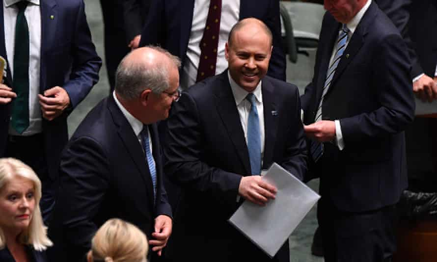 The treasurer, Josh Frydenberg, and the prime minister, Scott Morrison, after the budget was handed down on Tuesday.