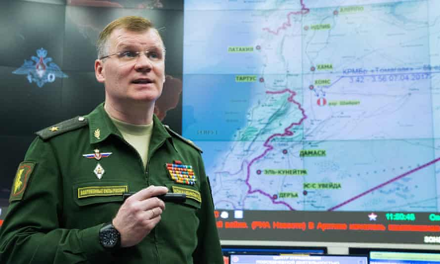 Igor Konashenkov from the Russian defence ministry gives a briefing on US airstrikes against Syria.