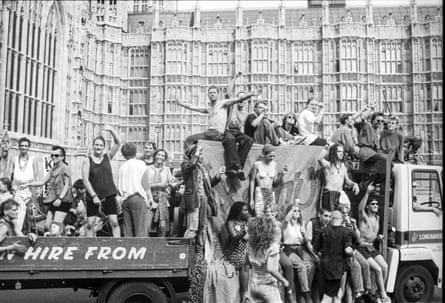 Ravers at an anti-Criminal Justice Act march at parliament in 1994.