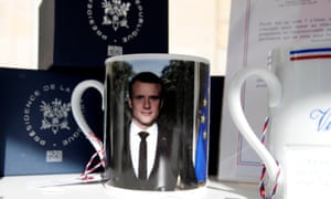 A mug with a picture of Emmanuel Macron