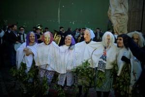 Masked revellers take part in carnival celebrations in Ituren
