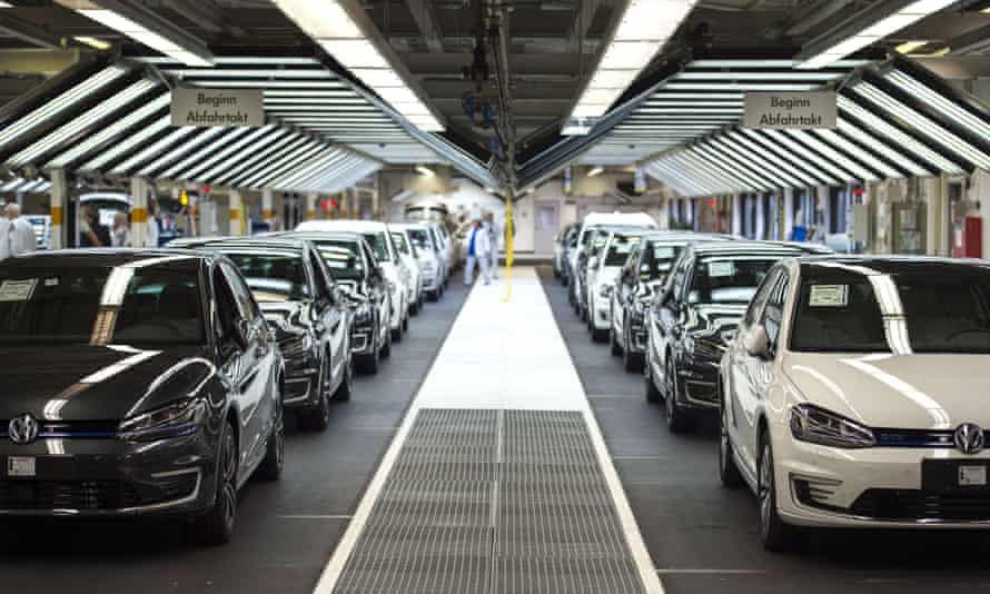 Volkswagens in a factory
