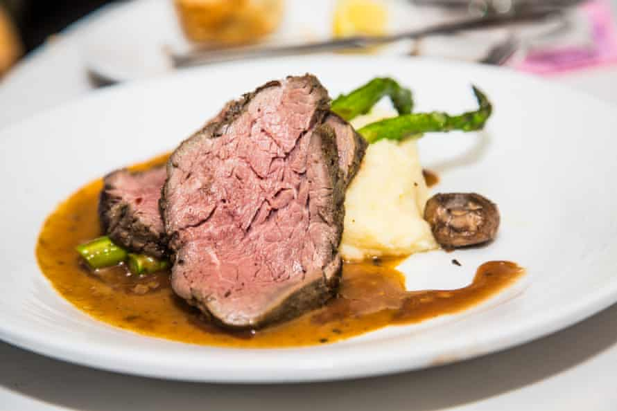 Rib of beef with mashed potato