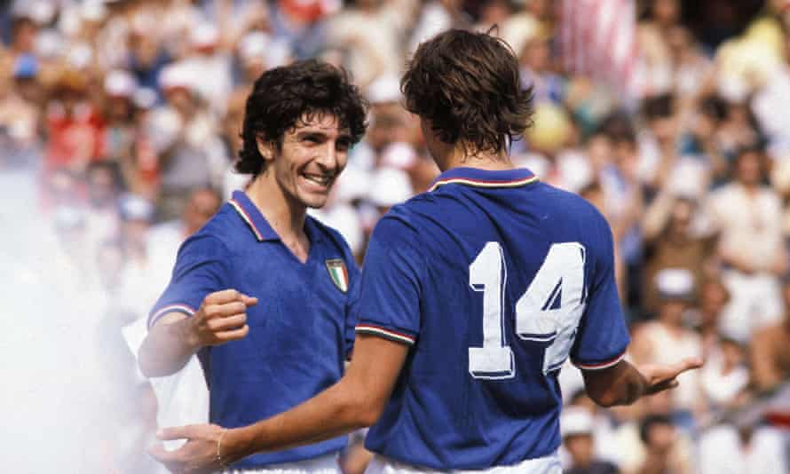 Paolo Rossi celebrates his second goal against Poland of the 1982 semi-final with Marco Tardelli.