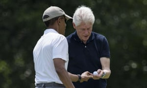 Democratic presidents, current and former, get in a round of golf.