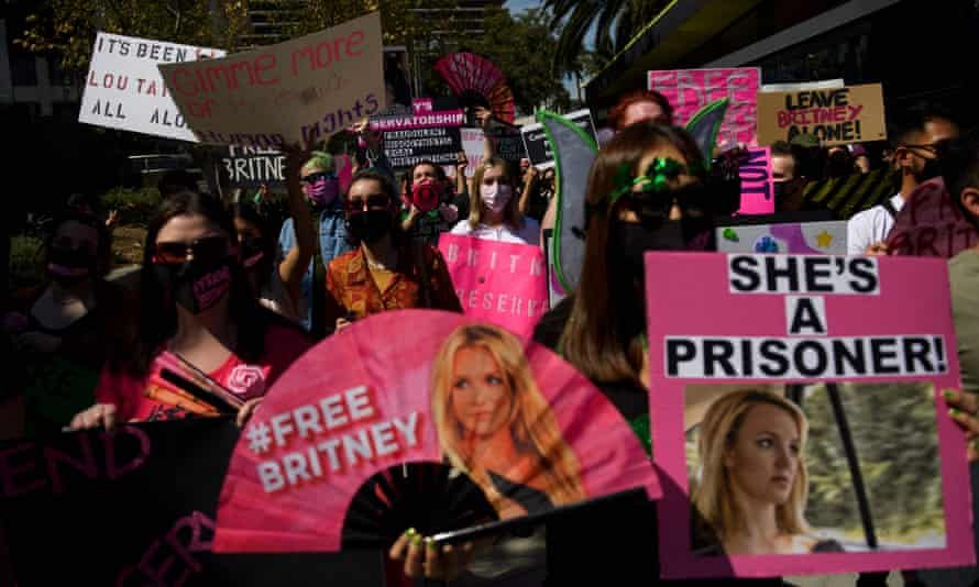 Supporters of the #FreeBritney movement outside a court hearing in Los Angeles, March 2021