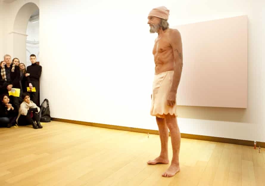 Ulay – Uwe Frank Laysiepen – performs A Skeleton in the Closet at the Stedelijk Museum, Amsterdam, in 2014.