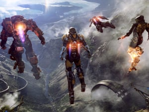Flying high … the mech-suits in Anthem