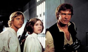 Old timers … Mark Hamill, Carrie Fisher and Harrison Ford in Star Wars: Episode IV - A New Hope.