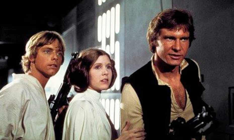 Mark Hamill, Carrie Fisher and Harrison Ford in Star Wars: A New Hope. Alan Dean Foster wrote an official novelisation of the 1977 film in 1976.