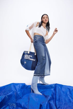 Los Angeles denim brand Mother has launched a limited-edition upcycled capsule collection, 60% Mother, that includes jeans, T-shirts, bandana scarves and shorts made of pre- and post-consumer waste. Handmade in LA, the pieces were made using 60% excess fabric, damaged stock and overstock mixed with 40% vintage pieces from local rag houses. Skirt, £124, and bag, £98, motherdenim.com