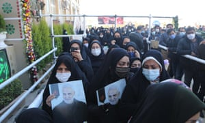 A crowd at the tomb of Iranian Revolutionary Guards' Quds Force commander Qassem Suleimani