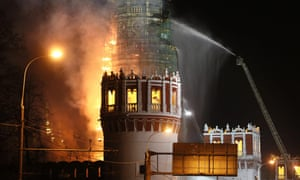 Firefighters at Novodevichy bell tower