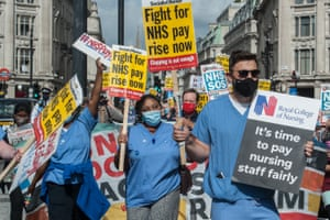 NHS workers march from the BBC headquarters to Trafalgar square to demand a pay rise.