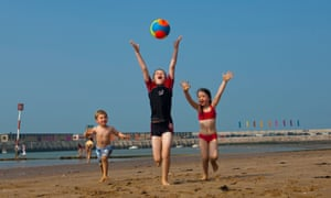 Children playing with a ball on Margate beach. Isle of Thanet. Kent EnglandCCF3JM Children playing with a ball on Margate beach. Isle of Thanet. Kent England