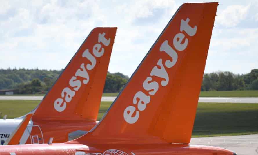 EasyJet aircraft parked at Luton airport