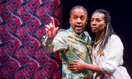 Clarence Smith as Claudius and Tanya Moodie as Gertrude in Simon Godwin's staging of Hamlet by William Shakespeare @ Royal Shakespeare Theatre, Stratford.
