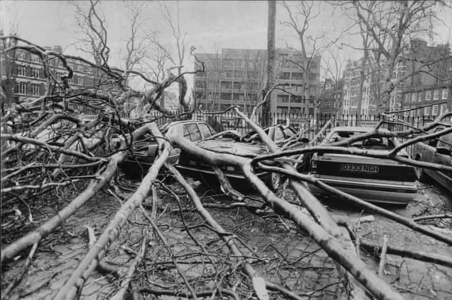 The Burns' Day storm on 26 January 1990, Charterhouse Square, London. The storm resulted in 47 deaths across the UK.
