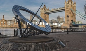 The pro-Brexit Time party uses the sculpture on its homepage.
