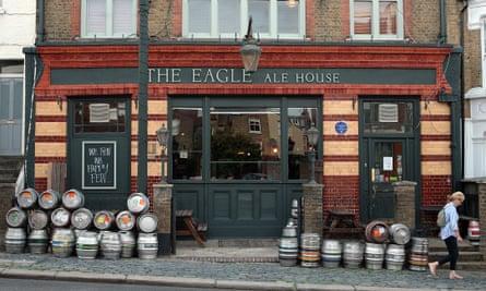 Beer barrels outside the Eagle Ale House