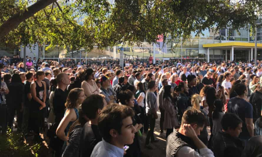 Google employees protest at the company's Mountain View headquarters on 1 November 1.