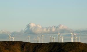 Wind at the Bluff Point windfarm in Woolnorth, Tasmania