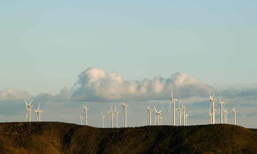 General views of the Bluff Point Wind Farm in Tasmania
