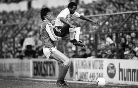 Niall Quinn and Danny Thomas compete for the ball in the league game at White Hart Lane in January 1987.