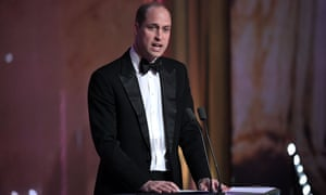 Addressing the elephant in the hall … Prince William at the Baftas.