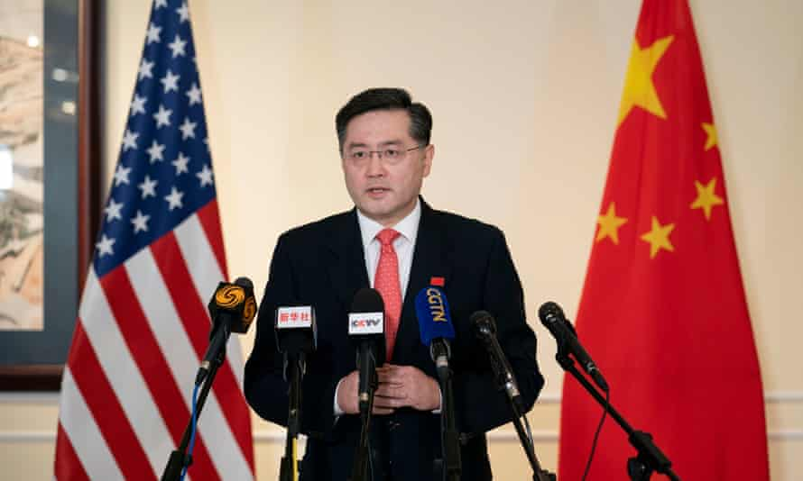 Qin Gang speaking to Chinese and US media on arrival in the US on Wednesday