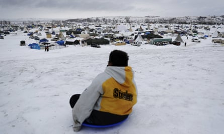 The Oceti Sakowin camp, where people have gathered to protest the Dakota Access oil pipeline, in Cannon Ball, North Dakota on 29 November 2016.